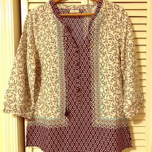 Blue patterned tunic style blouse size medium